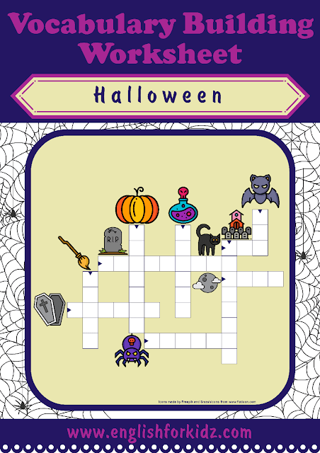 Halloween crossword for English learners