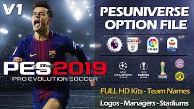 PES 2019 PS4 PES Universe Option File v1 Season 2018/2019
