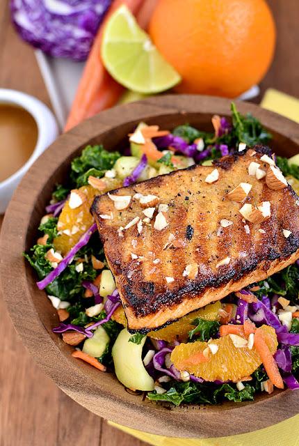 Asian Kale & Salmon Salad