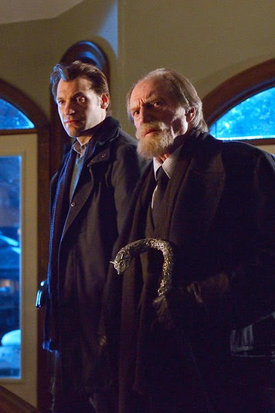Corey Stoll and David Bradley as Dr. Ephraim Eph Goodweather and Jewish holocaust survivor and pawn shop owner Abraham Setrakian in The Strain Season 1 Episode 4 It's not for Everyone