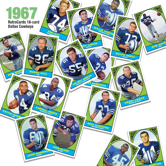 1967 Topps football cards, Dallas Cowboys. RetroCards, custom football cards