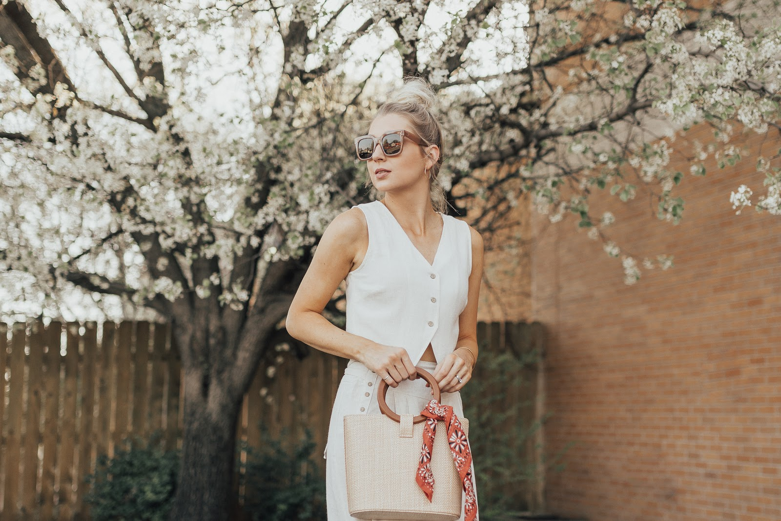 scarf tied on a woven bag | Love, Lenore