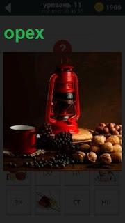 Фонарь летучая мышь и вокруг разбросаны грецкие орехи. Стоит чашка и лежат черные ягоды россыпью