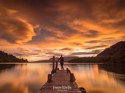 New Zealand, NZ, Lake Tarawera, Jetty, Sunrise, Rotorua