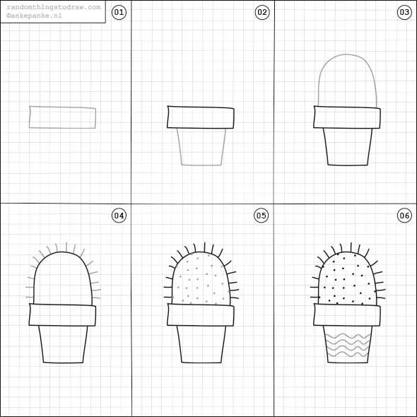 Cara Mudah Menggambar Pohon Kaktus  Untuk Anak-Anak