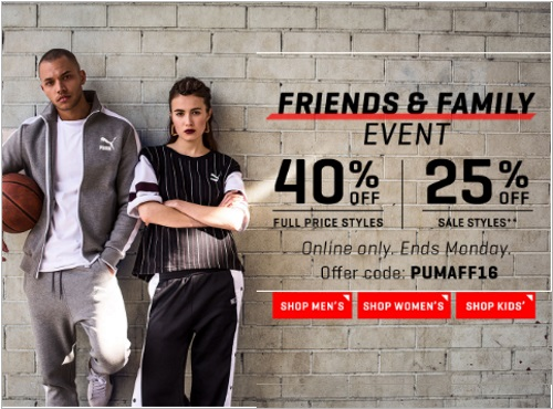 PUMA Friends & Family 40% Off Promo Code