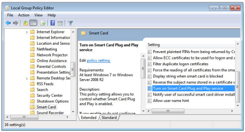 Disable Smart Card Login