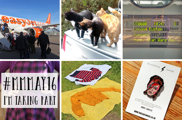The Butterfly Balcony: Wendy's Week - Planes & Trains Leaving Schiphol Airport // Crazy cat lady  // May the 4th be with you // Beginning Me Made May 2016 // Sunbathing knitwear //Bowie pin a pressy from my brother!