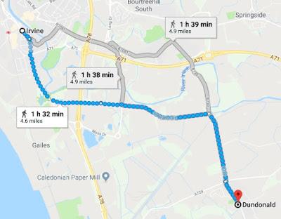 Google Maps walking route between Irvine, UK and Dundonald, UK, retrieved 18 Oct 2018