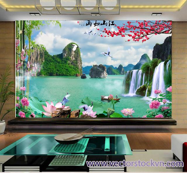 Tranh Dán Tường - Trang Phong Thủy Sông Suối