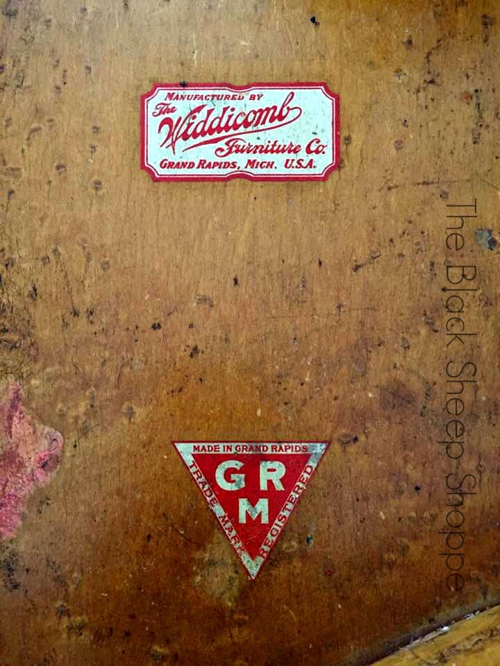 Label Widdicomb Furniture Company Grand Rapids Michigan