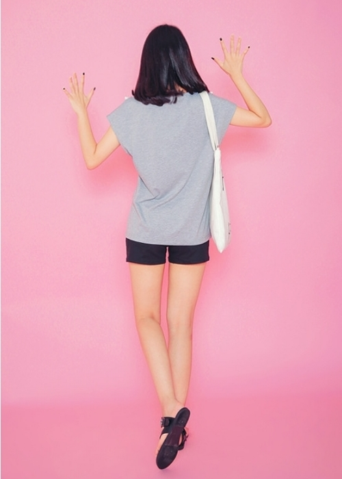 Pompom Trim Cap Sleeved T-Shirt