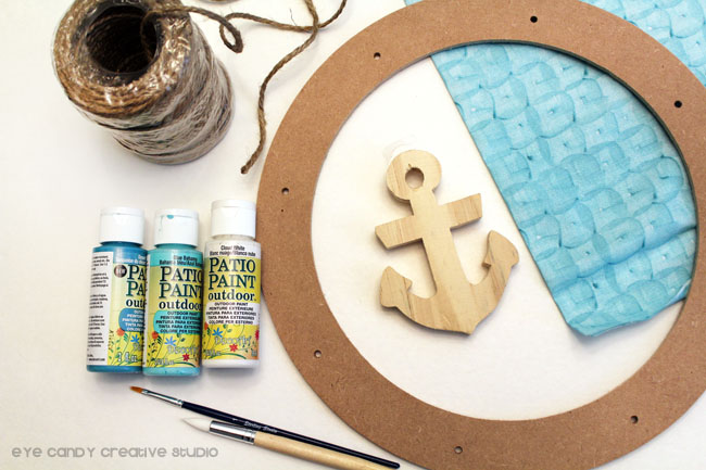 supplies to make nautical rag wreath, michaels, decoart paint