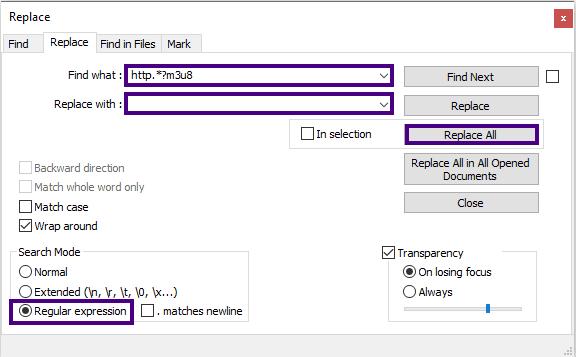 حذف جملة بين كلمتين محددتين على محرر notepad