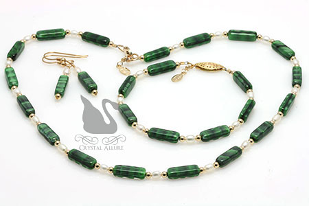 Green Czech Freshwater Pearl Beaded Necklace Set 3pc (JS102)