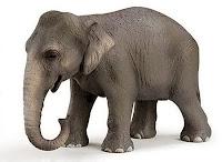 Beyaz bir alanda bir fil hayvanı modeli