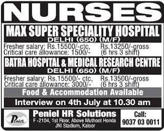 female and male nurses jobs in delhi