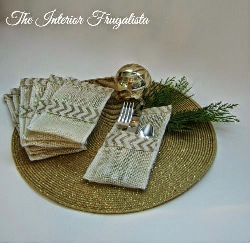 Creme burlap and gold glitter chevron ribbon holiday flatware pouches View 1