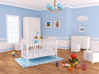 dormitorio de bebé celeste