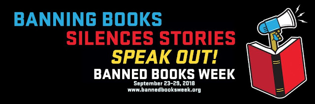Banned Books Week banner with megaphone and book: 'Banning books silences stories speak out! Banned Books Week September 23-29, 2018 www.bannedbooksweek.org'