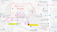 Peta lokasi Titik Jemput Penumpang Ojek Online Gojek-Grab di Terminal Bungurasih Purabaya Surabaya