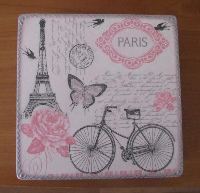 Шкатулка «Париж», декупаж.