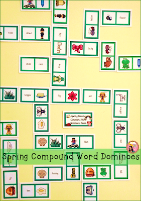 Spring themed compound word dominoes game