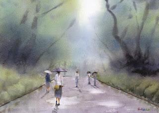 雨の公園 道を平らにした作例