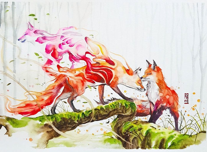 06-Spirit-Fox-Jongkie-art-Luqman-Reza-Mulyono-Vibrant-Fantasy-Watercolor-Animal-Paintings-www-designstack-co