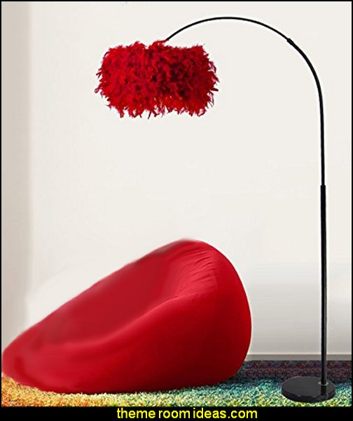 red feather Floor Lamp    Moulin Rouge Victorian Boudoir style bedroom decorating ideas - Moulin Rouge style bedroom ideas - boudoir themed decor - Moulin Rouge decor ideas -  French boudoir themed bedrooms - sexy themed bedroom decorating ideas - boudoir furniture - bordello bedrooms - Romantic style bedrooms - French Victorian boudoir - feathery lamps