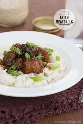 low Cooker Asian Meatballs from Taste and Tell featured on SlowCookerFromScratch.com