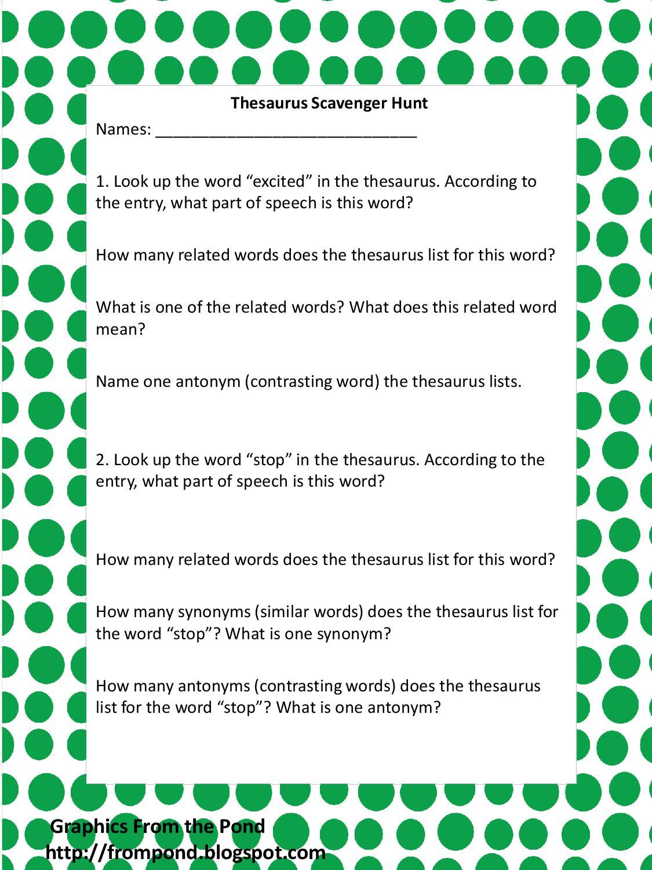 Hunter S Tales From Teaching Manic Monday Thesaurus Scavenger Hunt Freebie
