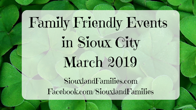 "in background, shamrocks, in foreground the words ""family friendly things to do in Sioux City in March 2019"""
