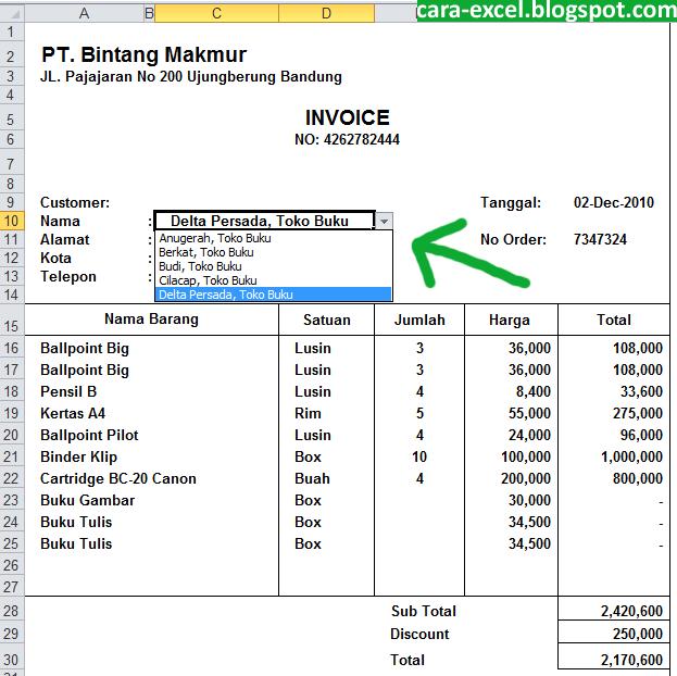 Contoh Invoice Excel Download - Cara-Excel