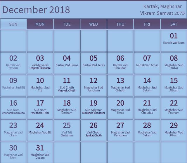 December 2018 Hindu Calendar with Tithi