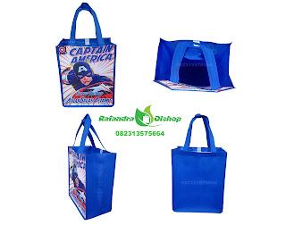 tas souvenir ultah anak, tas ultah murah, tas ulang tahun murah, souvenir ultah murah, tas bingkisan ultah, captain america.