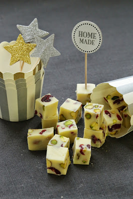 fudge chocolat blznc , cranberries , pistaches , nouvel an
