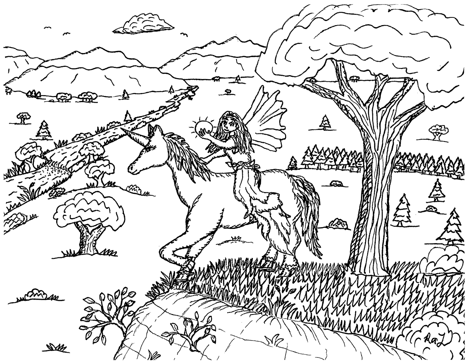 Robin's Great Coloring Pages Fairy with a Crystal Ball on a Unicorn