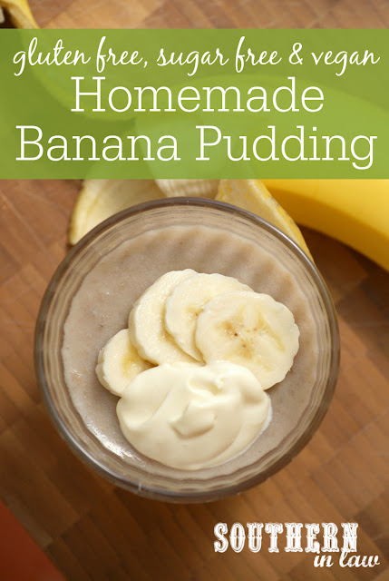 Sugar Free Homemade Banana Pudding Recipe - low fat, gluten free, healthy, sugar free, vegan, dairy free, egg free
