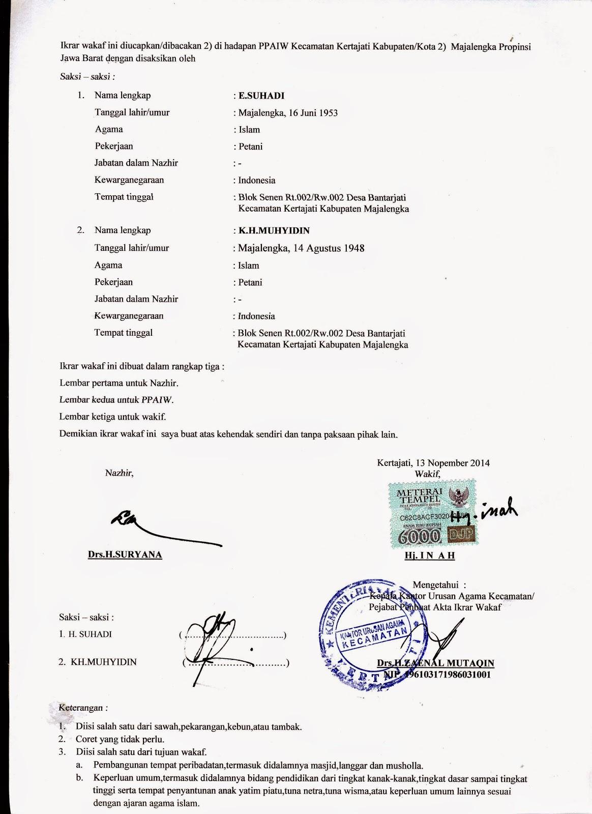 Contoh Surat Pernyataan Wakaf Detil Gambar Online
