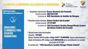 Donaciones a Ecuador para el Terremoto