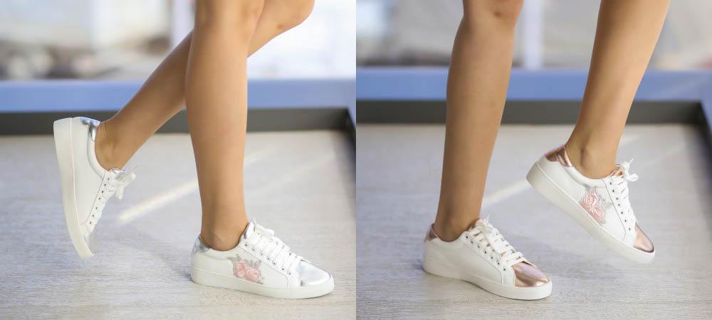 Adidasi dama albi cu argintiu sau roz ieftini la moda 2017