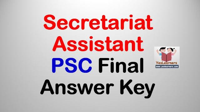 Secretariat Assistant 2018 - PSC Final Answer Key