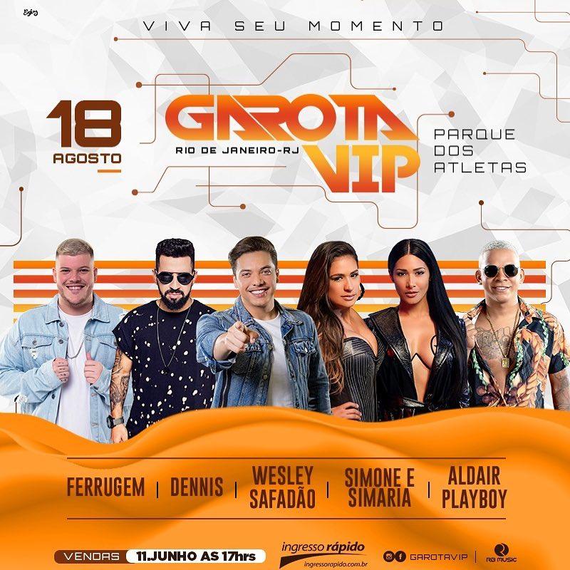 4c979e939 O cantor Wesley Safadão leva o seu projeto Garota Vip pela primeira vez a  cidade maravilhosa do Rio de Janeiro. O evento acontece no dia 18 de  agosto, ...