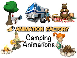 Clipart Image of a Camping Animated Sticker Pack