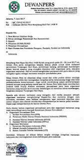 Dewan Pers Himbau Pejabat Pemerintah/Swasta Jangan Beri THR Kepada Wartawan