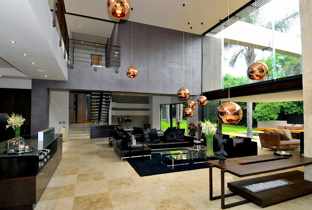 Picture of large open modern living room by the kitchen