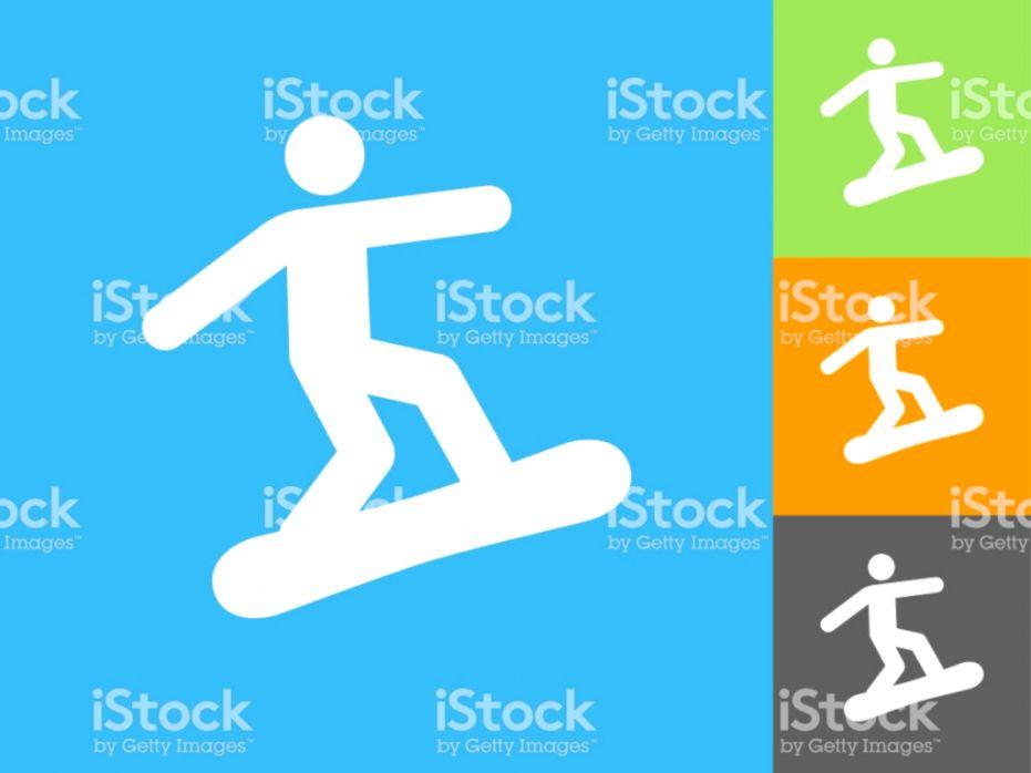 Figure Snowboarding Flat Icon On Blue Background Stock Vector Art