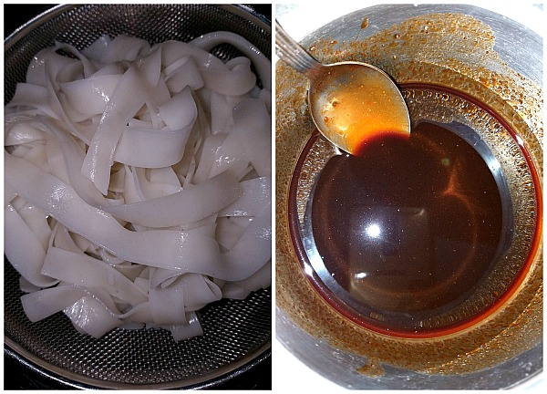 Steps to make rice  noodles and sauce mix