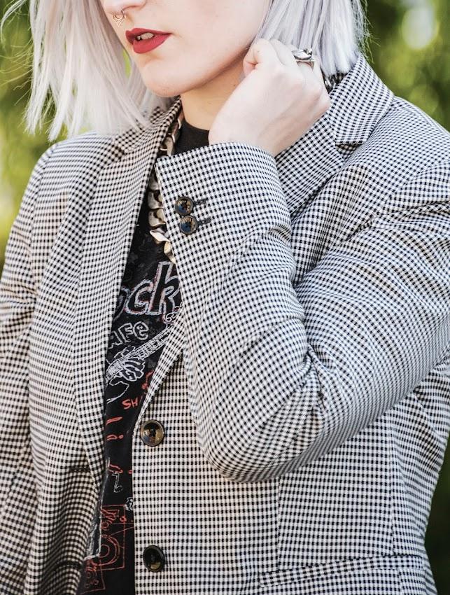 blazer vichy décontracté tailleur casual chic